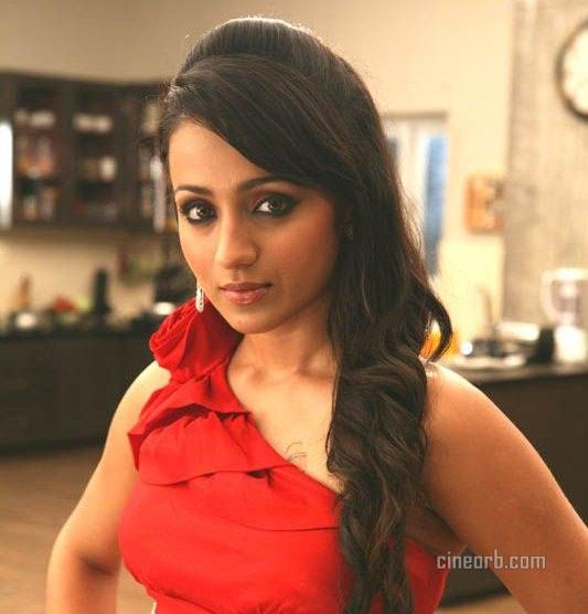 Trisha cute with red color dress