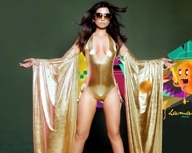 Shama Sikander in golden color bikini
