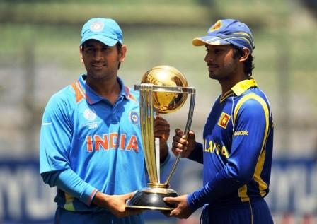 Mahendra Singh Dhoni with india vs Sri Lanka world cup