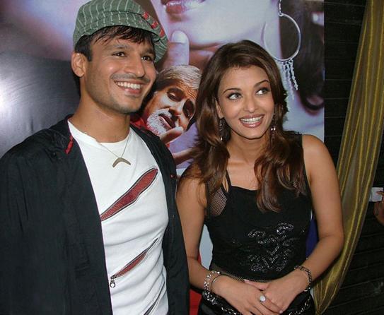Aishwarya rai and Vivek Oberoi smilling face