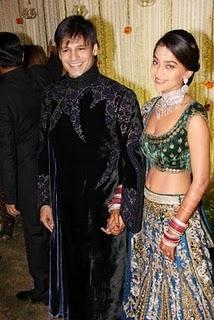 Vivek Oberoi and Priyanka Alva wedding reception pictures