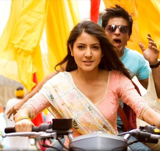 Shahrukh and Anushka with a bike in Rab ne bana di Jodi