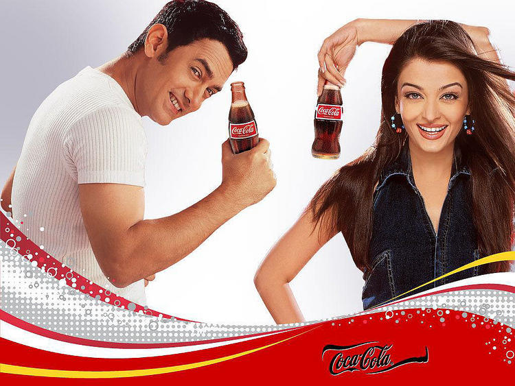 Aamir Khan and Aishwarya Rai Coca Cola wallpaper