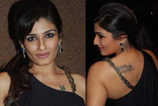 Raveena Tandon sexy tattoo pics