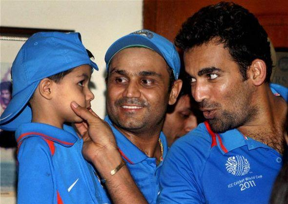 world cup cricket  Virender Sehwag son At India Pakistan Semi Final picture