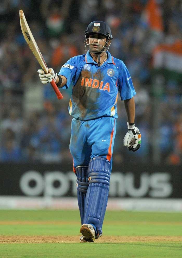 World Cup  final india vs Sri Lanka Gautam Gambhir scored beating fifty shots stills
