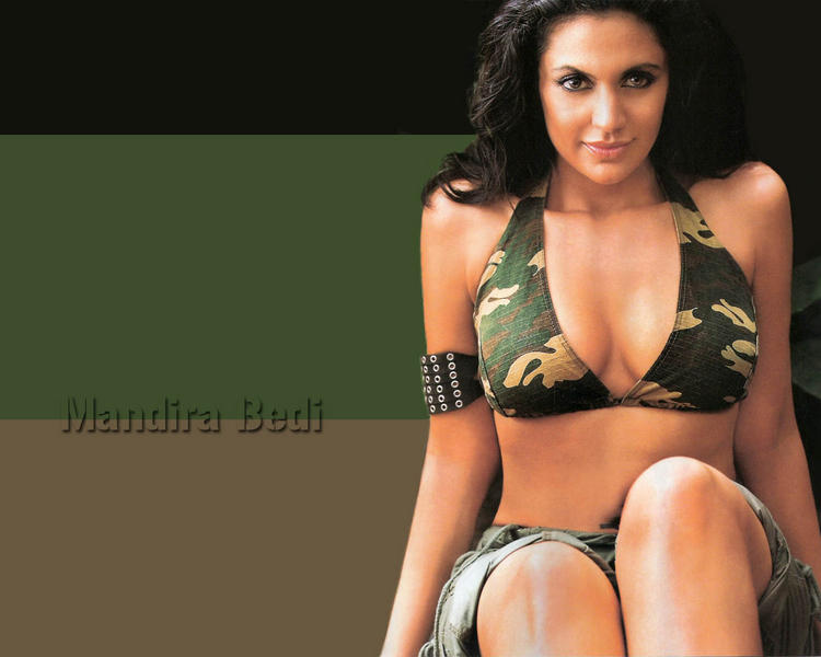 Mandira Bedi in bikini hot wallpaper