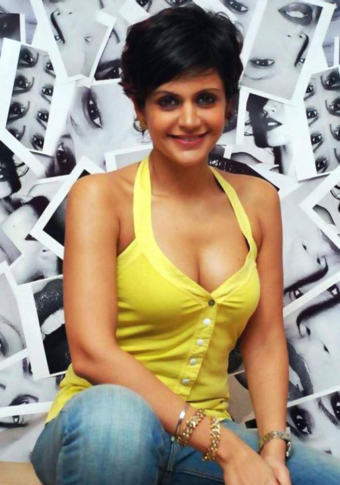 Mandira Bedi look sexy in hot yellow color dress