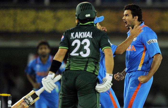 Zaheer Khan taking wicket of Kamran Akmal in semi final match