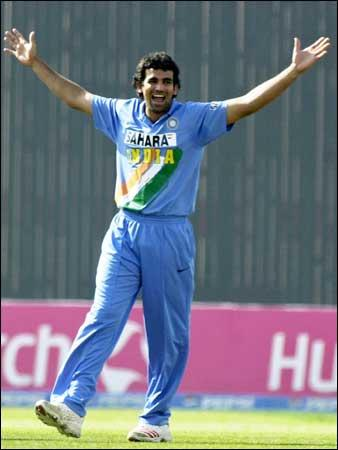 Zaheer Khan celebrates after taking wicket