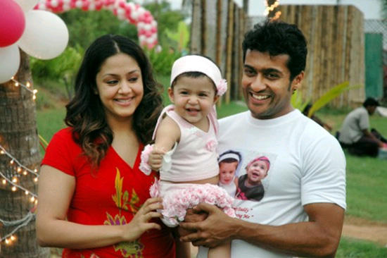 Actor Suriya,Jyothika and daughter diya birth day stills