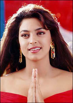 Juhi Chawla in red sexy dress