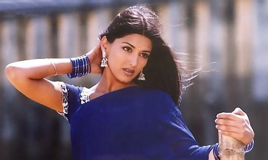 Sonali Bendre hot in blue color saree