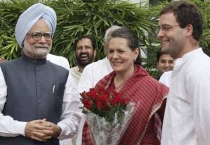 Rahul Gandhi with sonia gandhi and manmohan singh