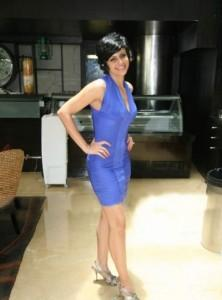 Mandira Bedi in hot blue dress pics
