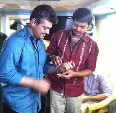Ajith and vijay mankatha shooting spot stills
