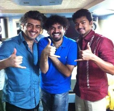 Ajith,vijay and mankatha shooting cute images