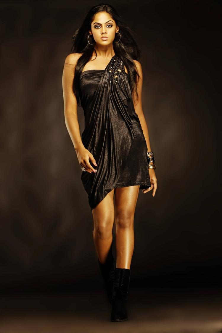 karthika Nair black color dress mini dress stills