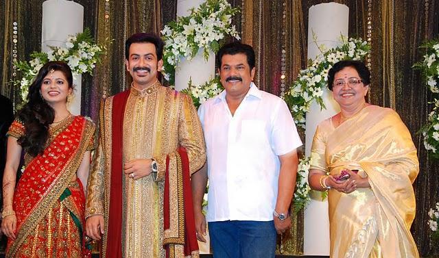 Prithviraj Sukumaran and supriya menon reception sweet stills