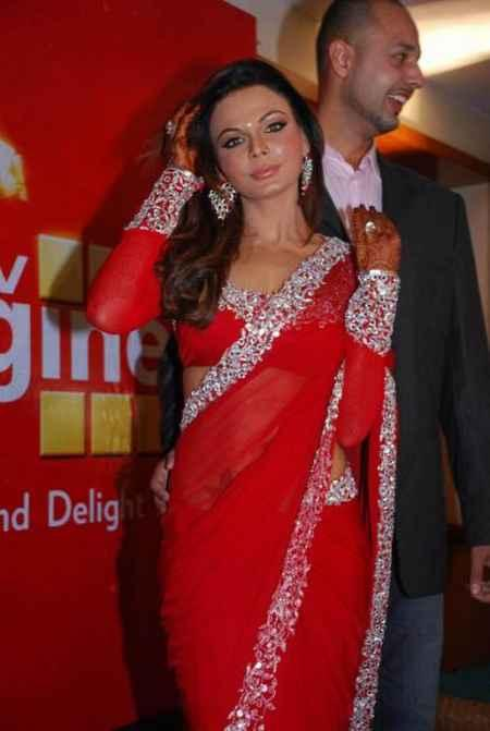 Rakhi Sawant in red hot saree