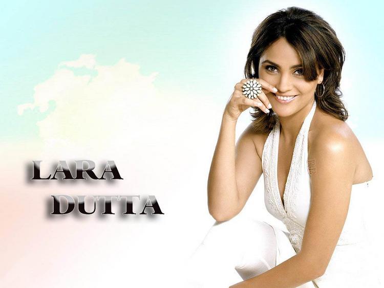 Lara Dutta in sexy white dress wallpaper