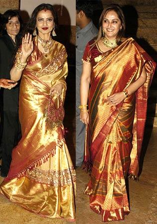 Rekha in golden color saree