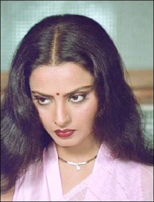 Rekha in pink color saree