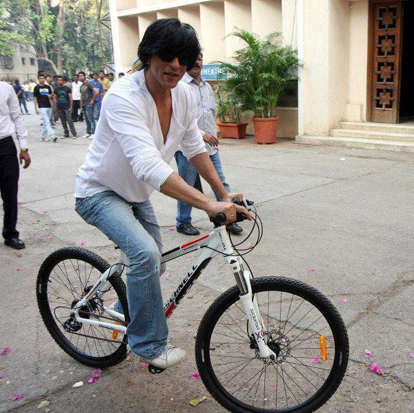 Shahrukh Khan with his cycle