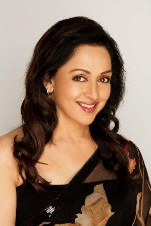 Hema Malini in black color saree