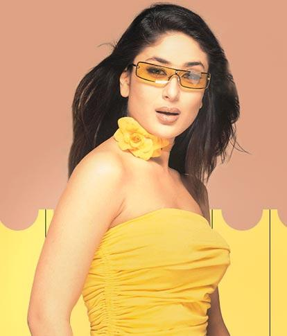 kareena kapoor sexy pose in tight yellow color dress