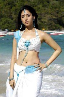 Tamanna Bhatia with white color saree sexy navel show