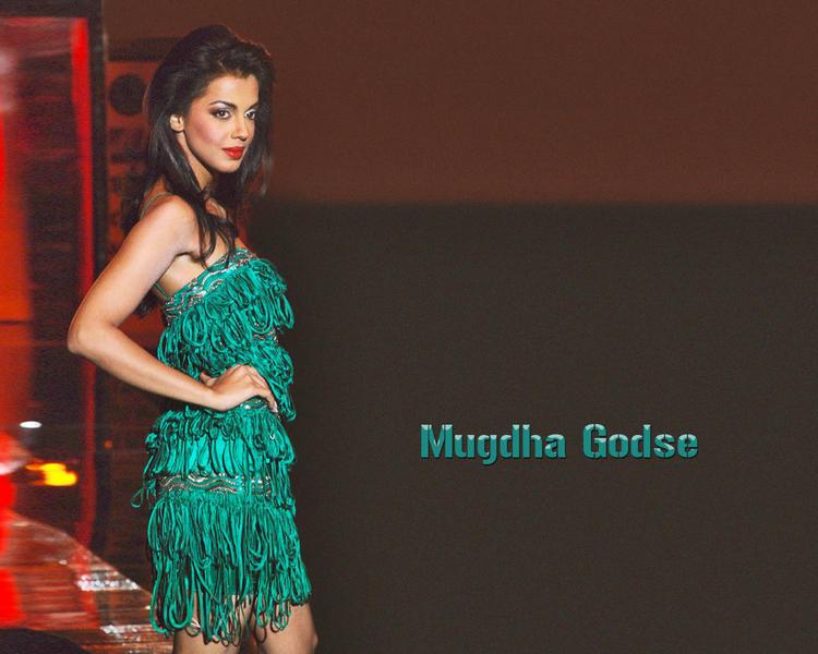 Mugdha Godse in green color dress