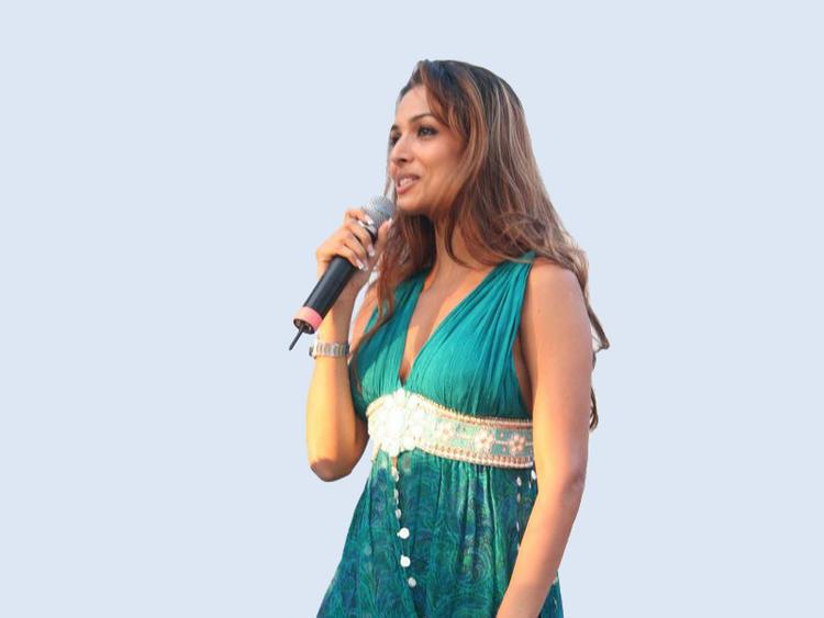 Malaika Arora Khan with microphone latest still
