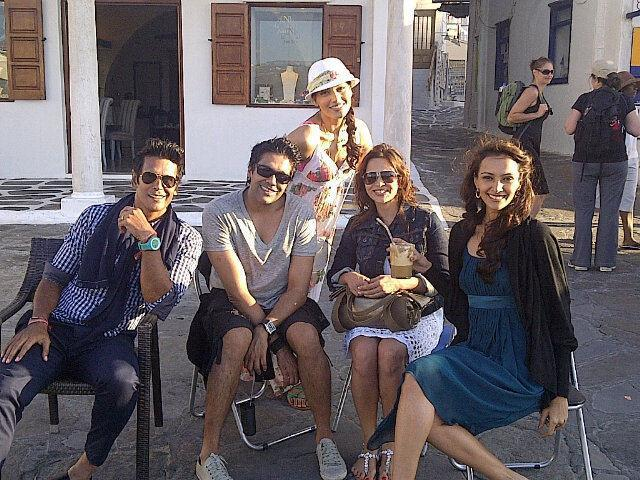 Dipannita Sharma with Milind Soman, Rocky S, Bipasha Basu and Deanne Pandey on the sets of Jodi Breakers in Mykonos, Greece