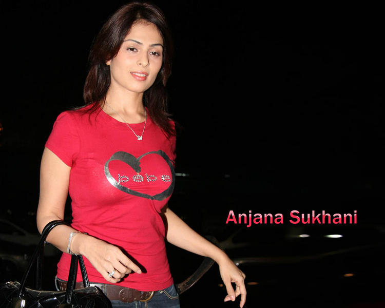 Anjana Sukhani  in tight red t-shirt