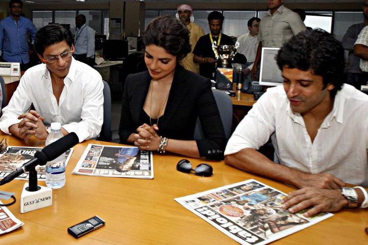 Shahrukh, Priyanka and Farhan during the Dubai International Film Festival