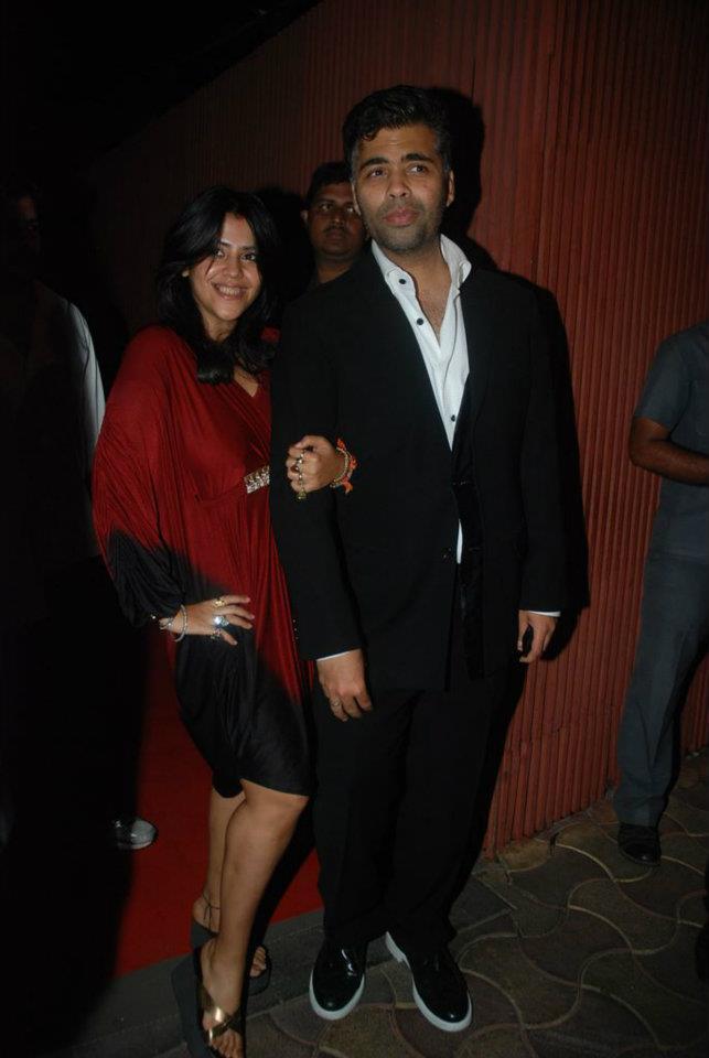 Ekta Kapoor and Karan Johar at Dirty Pictures Sucess Party