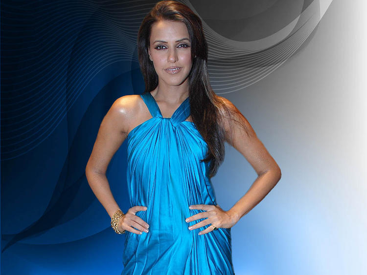 Neha Dhupia in blue color dress hot pic