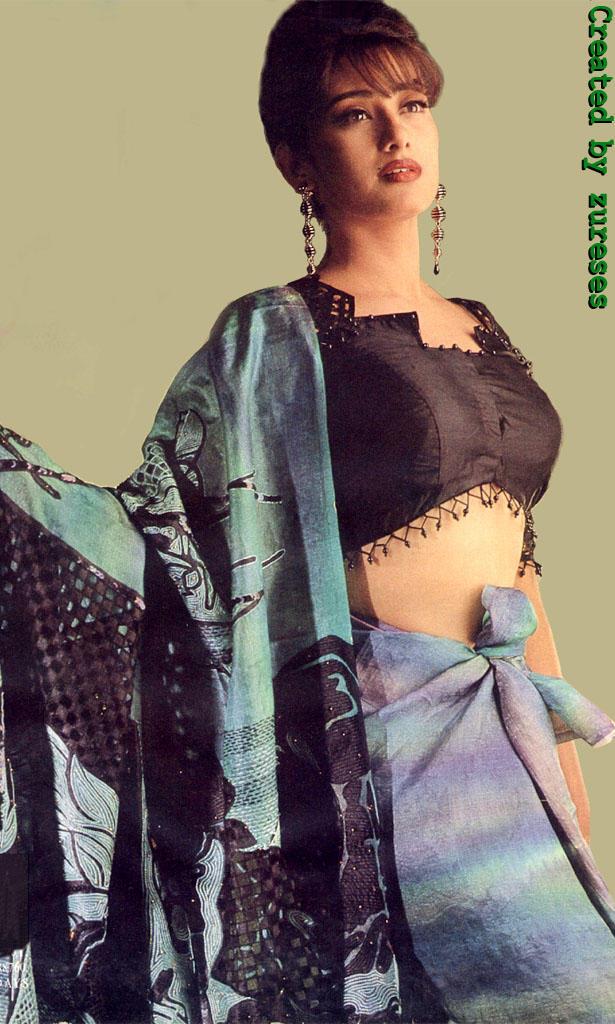 Manisha Koirala hot saree wallpaper