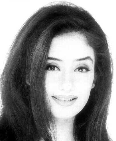 Manisha Koirala black and white image