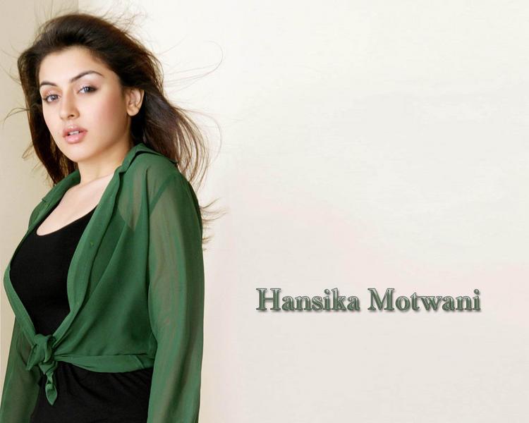 Hansika Motwani hot wallpaper in green dress