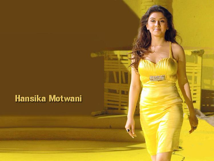 Hansika Motwani in hot yellow dress