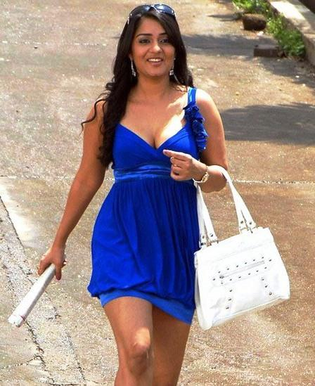 Nikitha looks hot in blue color dress