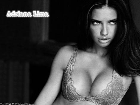 Adriana Lima in black and white wallpaper