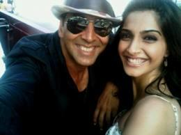 Sonam Kapoor,Akshay Kumar on sets of thank you movie
