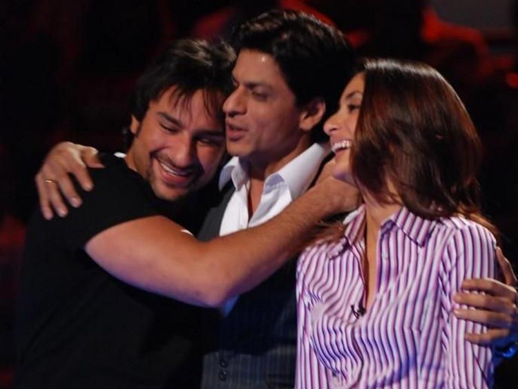 Saif Ali Khan with Kareena Kapoor and Shahrukh Khan