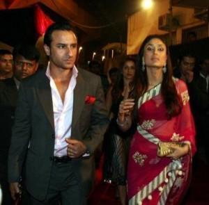 Saif Ali Khan and kareena kapoor  red hot saree still