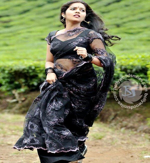 Swathi hot black color saree still