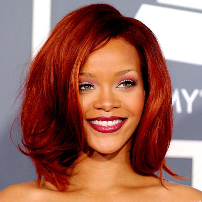 Rihanna Beautiful Smile In Red Hair