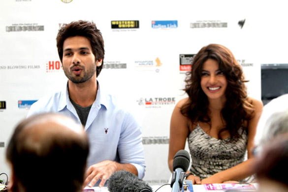 Shahid and Priyanka at Press conference of Indian Film Festival Melbourne 2012